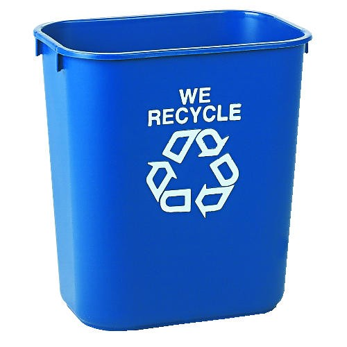 We Recycle, Clear Rectangular Container, Small, Blue, 13 Quart