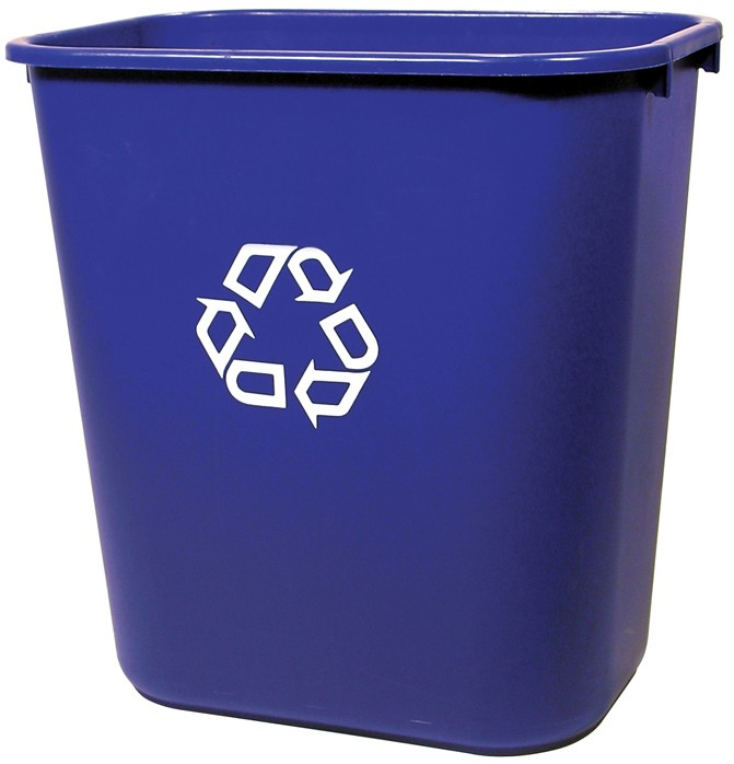 We Recycle, Clear Rectangular Container, Medium with Recycling Symbol, Blue (28 Qt)