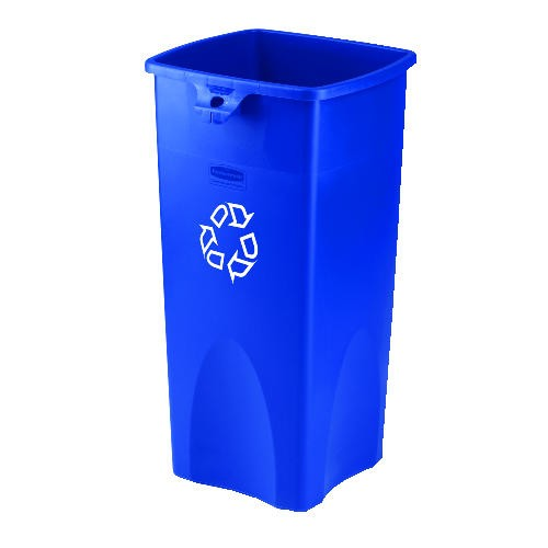 We Recycle, Touch-Free Square Trash Receptacle, 23 Gallon, Blue