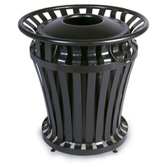 WeatherGard Series Container, Round, Steel, 32 gal, Black