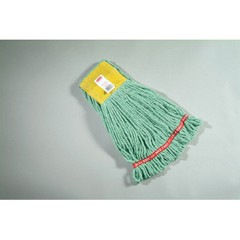 Web Foot Wet Mop Heads, Shrinkless, Cotton/Synthetic, Green, Small