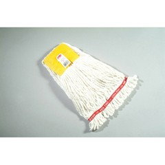 Web Foot Wet Mop Heads, Shrinkless, Cotton/Synthetic, White, Small