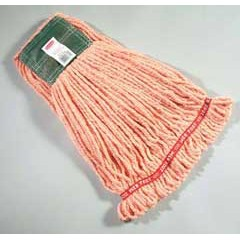 Web Foot Wet Mop Heads, Shrinkless, Cotton/Synthetic, Orange, Medium