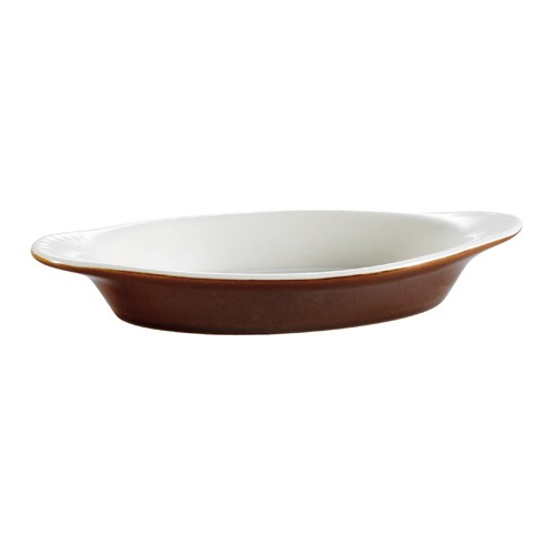 CAC China COA-12-B Stoneware Oval Welsh Rarebit Baking Dish, Brown/American White 12 oz.