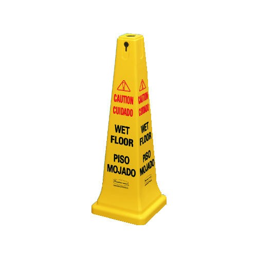 Four-Sided Wet Floor Safety Cone, 10-1/2w x 10-1/2d x 25-5/8h, Yellow