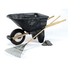 Wheelbarrow, 6.5 cu ft, 200lb Cap, 27w x 60d x 27 1/2h, Plastic/Wood, Black