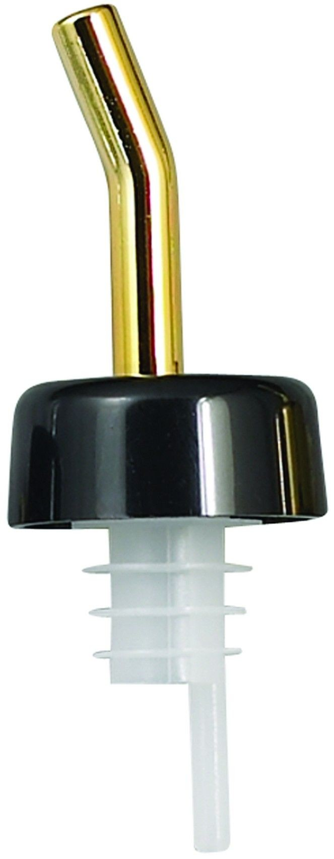 Winco PPW-GDK Whiskey Free Flow Pourer with Black Collar and Golden Spout
