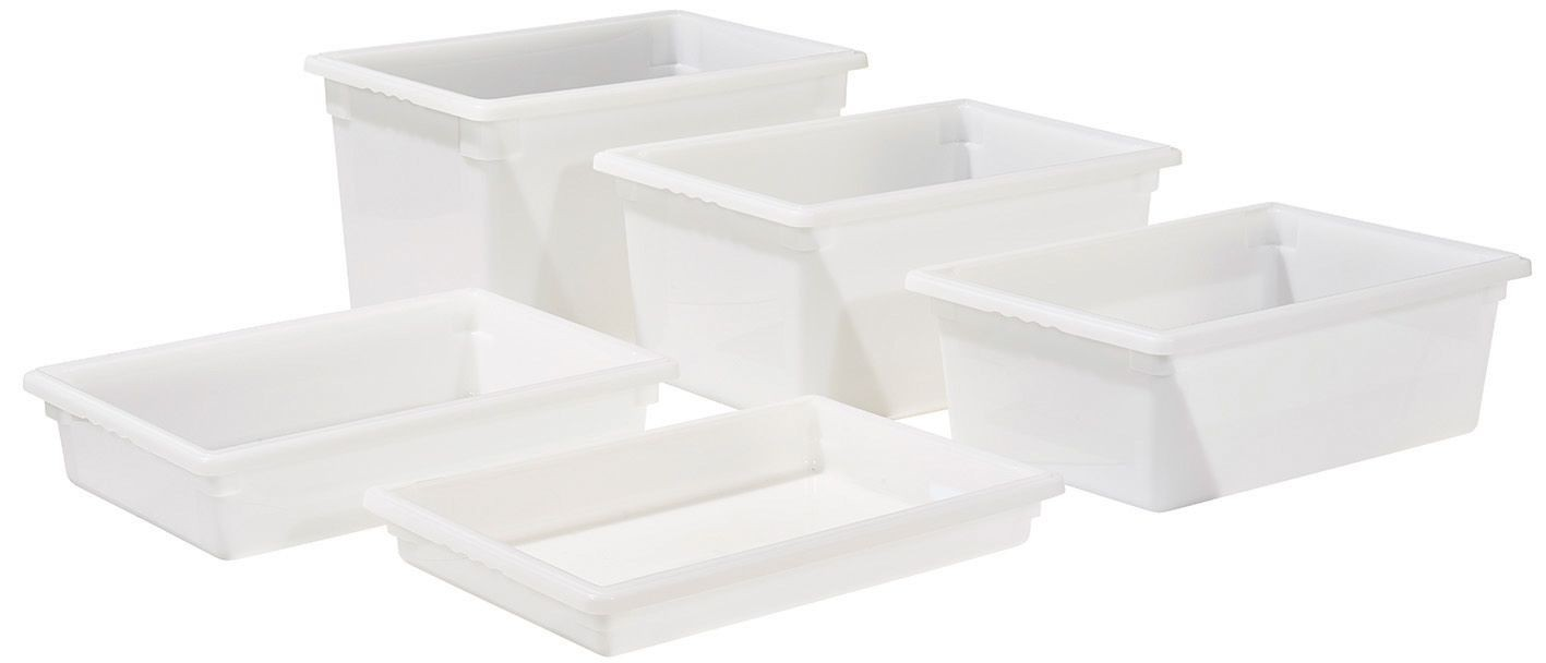 "Winco PFFW-6 White 18"" x 26"" x 6"" Food Storage Box"