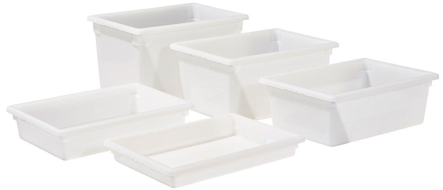 """Winco PFFW-9 White 18"""" x 26"""" x 9"""" Food Storage Box"""