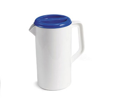 TableCraft 144W White 2-1/2 Qt. Plastic Pitcher with 3-Way Blue Lid