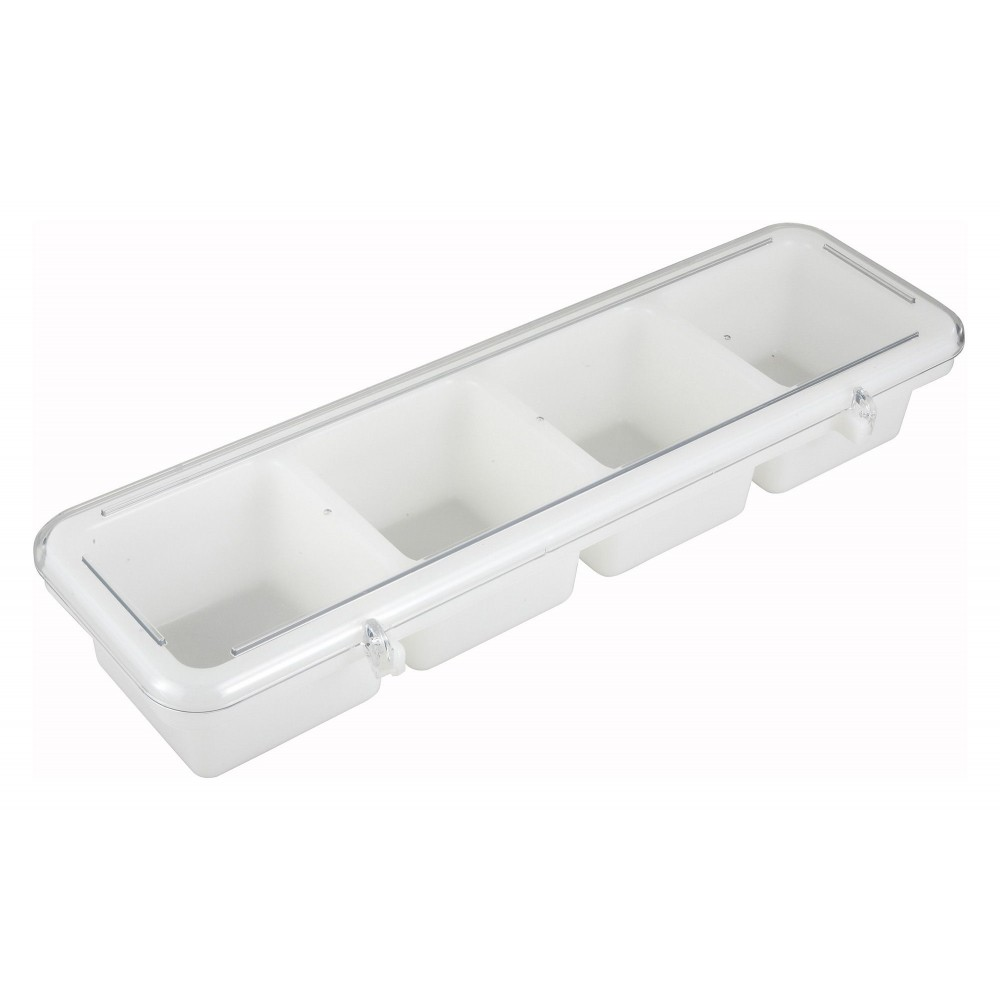Winco BC-4P 4-Compartment White Plastic Bar Caddy with Cover