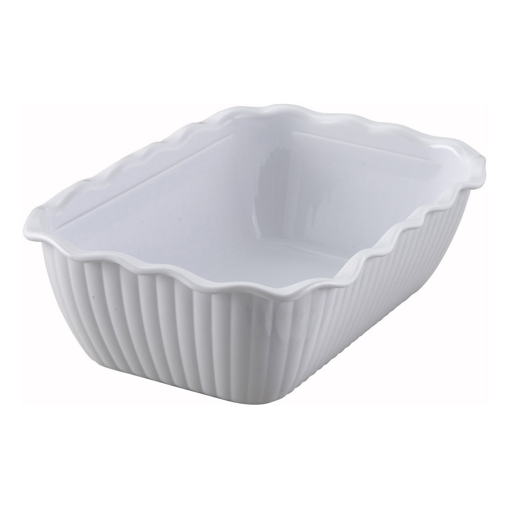 White-Colored Deli Crock - 10 X 7 X 3 (Cover not included)