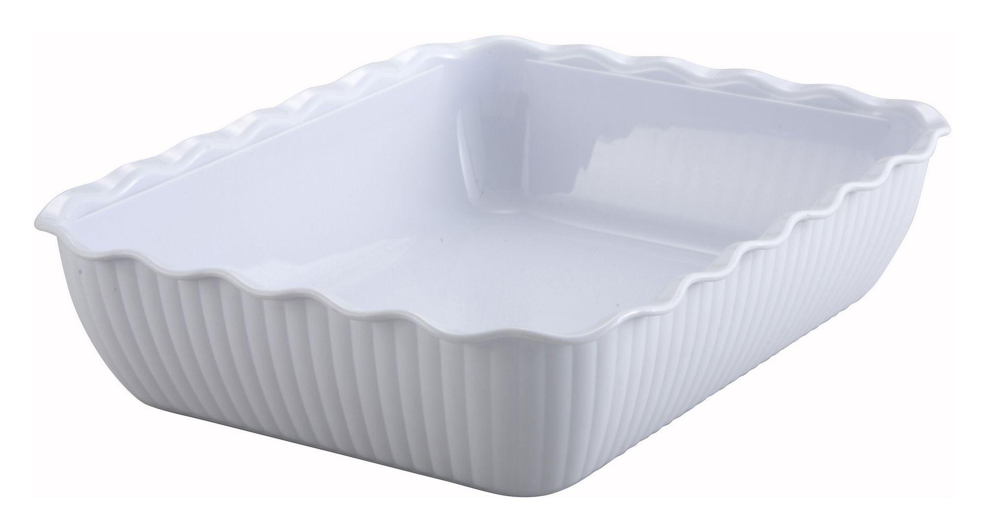 "Winco CRK-13W White Food Storage Container/Crock 13 x 10"" x 3"""