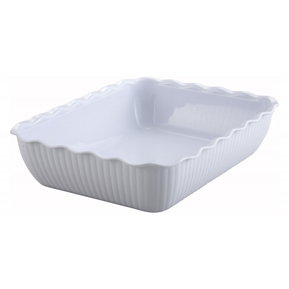 White-Colored Deli Crock - 13 X 10 X 3 (Cover not included)