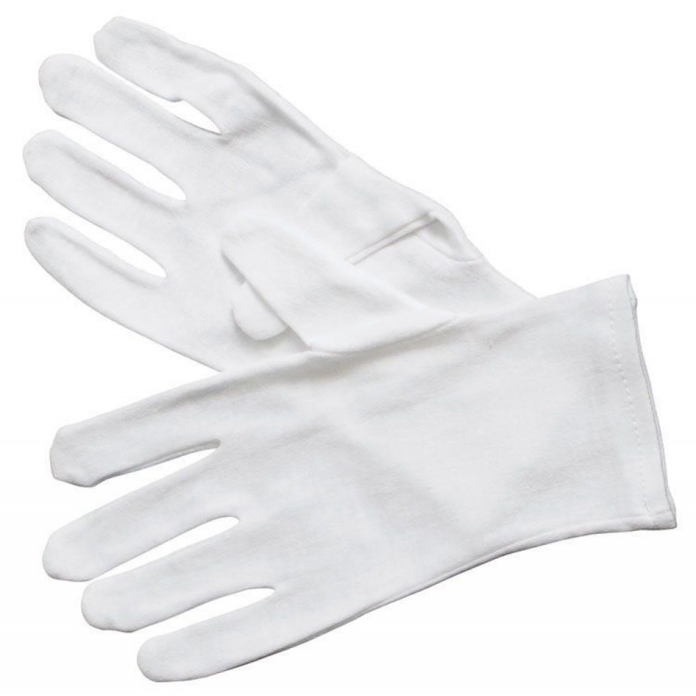 Winco GLC-M White Cotton Disposable Service Glove, Medium