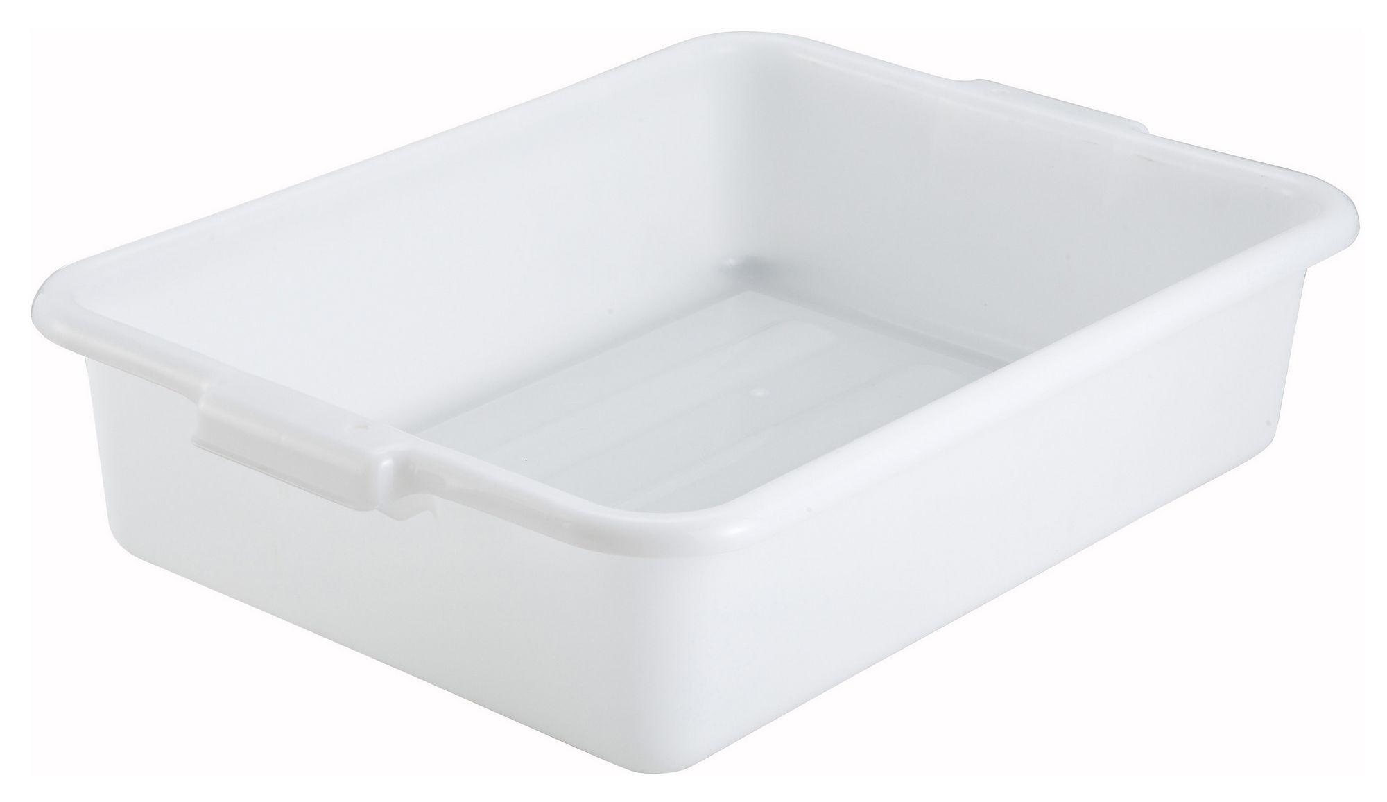 "Winco PL-5W White Dish Box 20-1/4"" x 15-1/2"" x 5"""