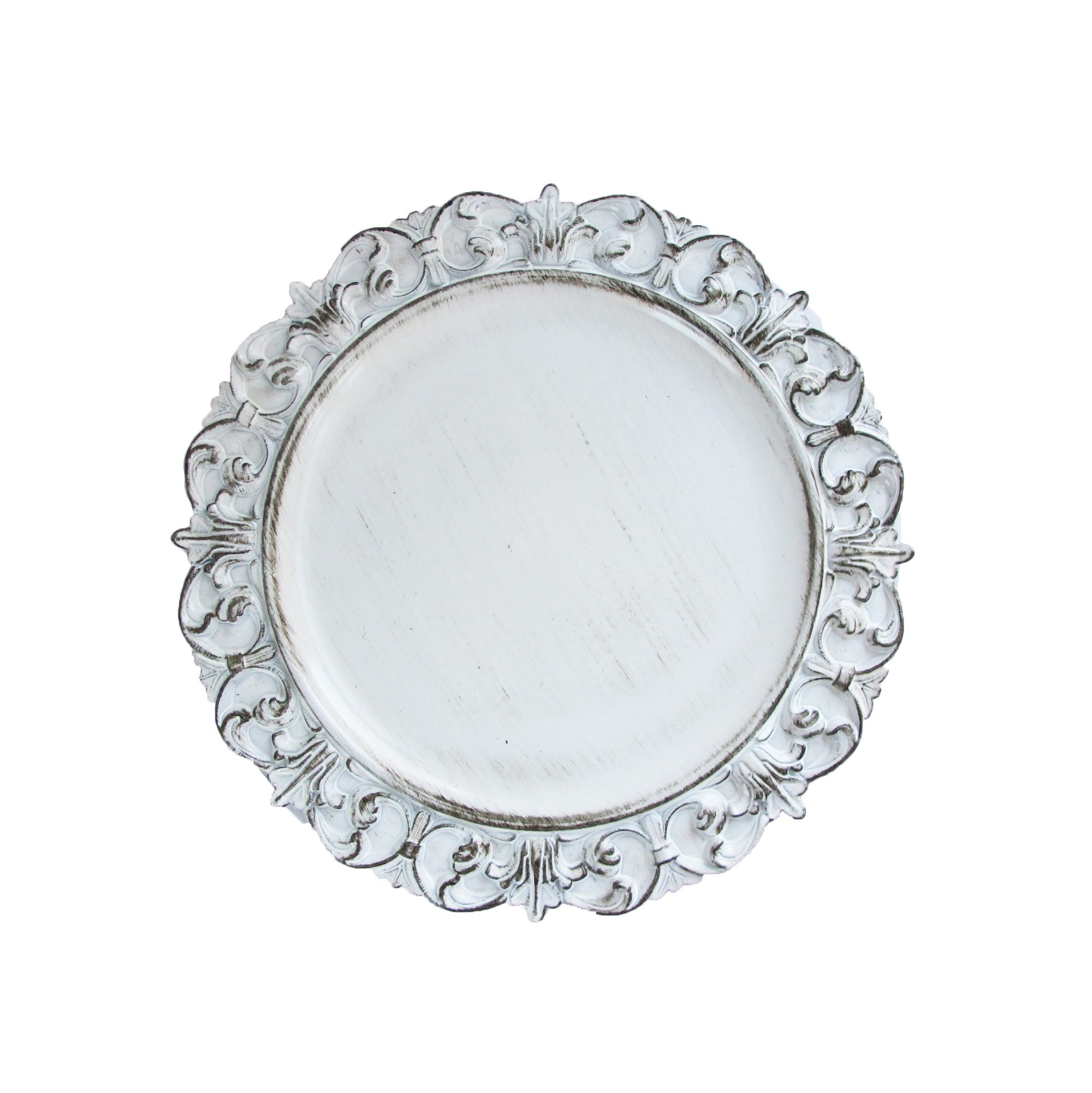 "Jay Import 1270282 White Embossed Antique 14"" Charger Plate"