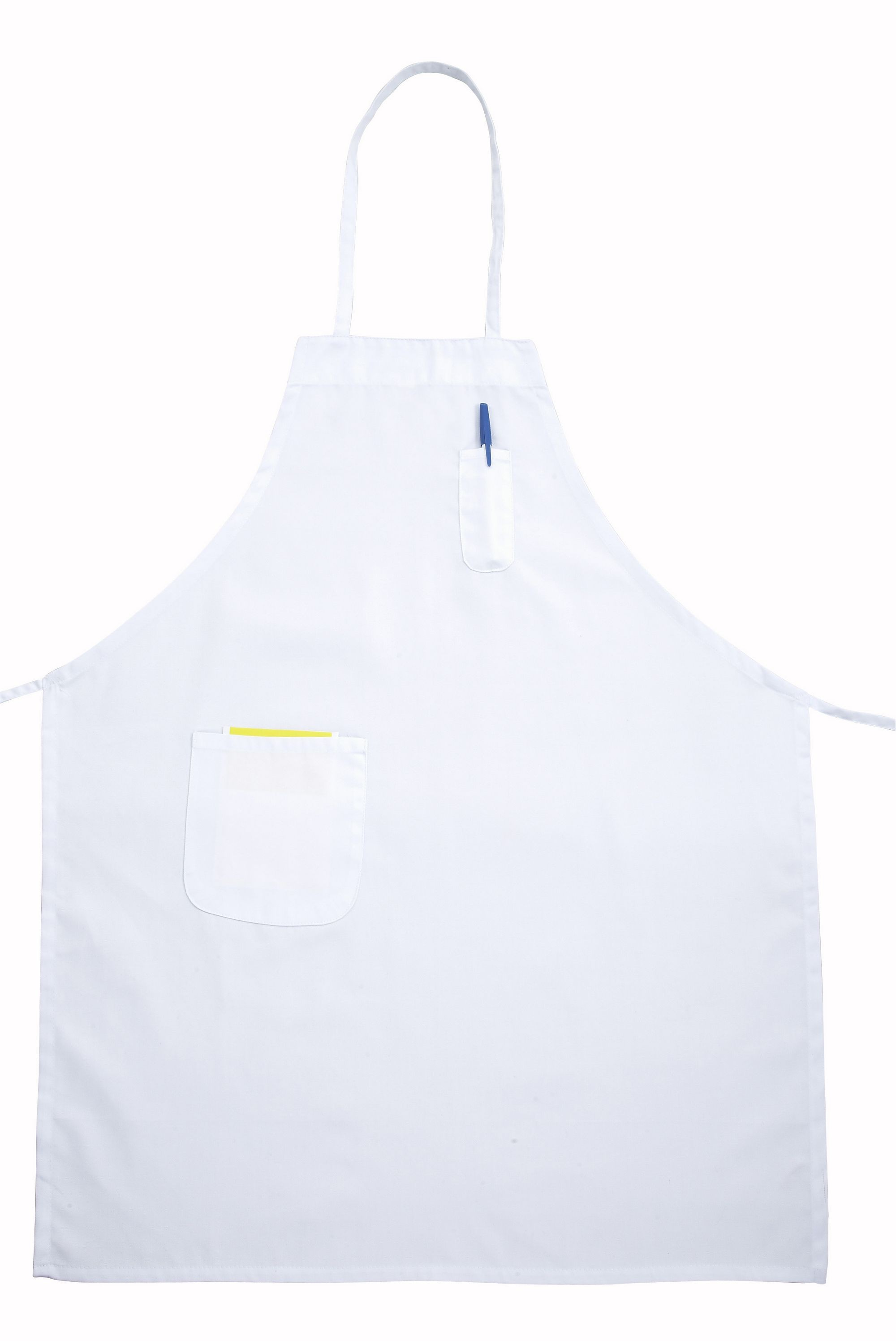 Winco BA-PWH Full-Length White Bib Apron with Pocket