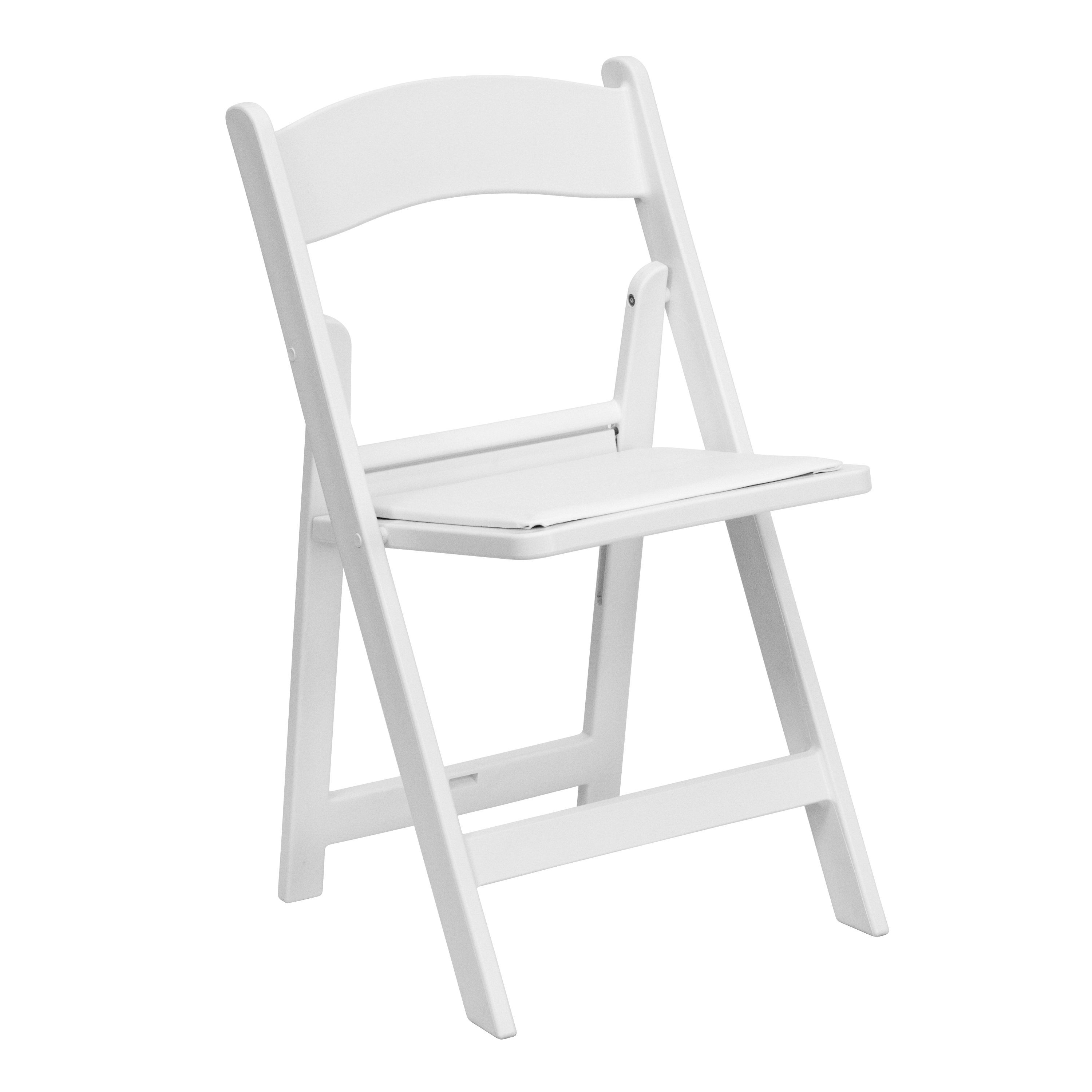 Flash Furniture LE-L-1-WHITE-GG White Resin Folding Chair with White Vinyl Padded Seat