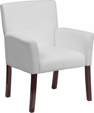 Flash Furniture BT-353-WH-GG White Leather Executive Side Chair or Reception Chair with Mahogany Legs