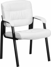 Flash Furniture BT-1404-WH-GG White Leather Guest/Reception Chair with Black Frame Finish