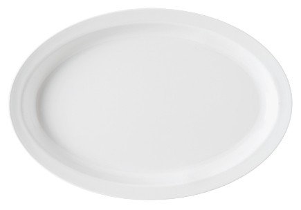 "G.E.T. Enterprises SP-OP-612-W SuperMel White Melamine 11-3/4"" x 8-1/4"" Oval Platter"