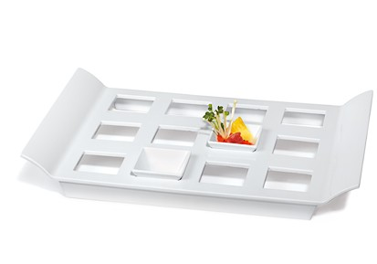 "G.E.T. Enterprises ML-292-W San Michele White 18"" x 13"" Melamine Display Tray with Square Sots"