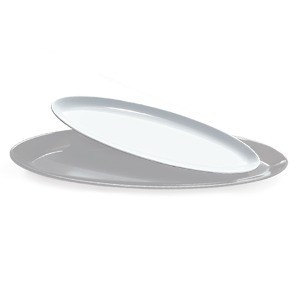 "G.E.T. Enterprises ML-252-W Siciliano White 20 oz. 16"" x 5"" Oval Platter"