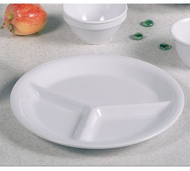 White Melamine 3-Compartment Plate - 10-1/4