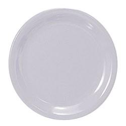 White Melamine Narrow Rim Round Plate - 10-1/2