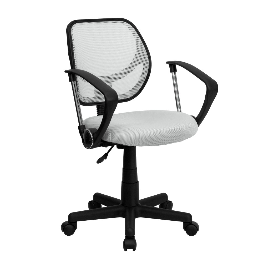 White Mesh Computer Chair with Arms