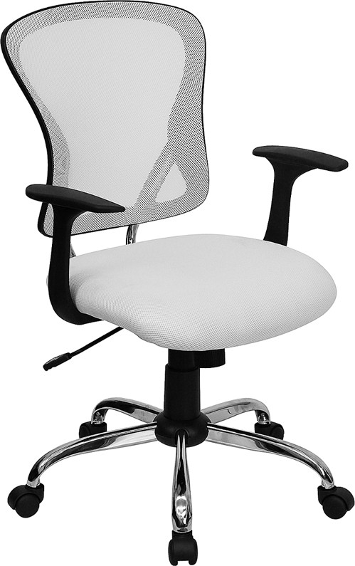 Flash Furniture H-8369F-WHT-GG Mid-Back White Mesh Executive Office Chair with Chrome Base and Arms