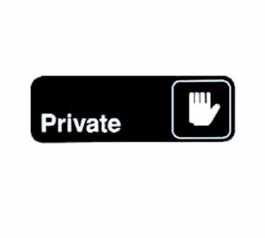 "TableCraft 394505 Private Sign, White-On-Black 3"" x 9"""