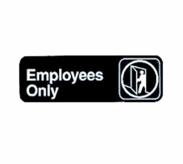 "TableCraft 394506 Employees Only Sign, White-On-Black 3"" x 9"""
