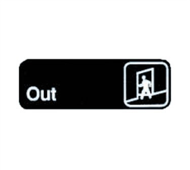 "TableCraft 394510 Out Sign, White-On-Black 3"" x 9"""