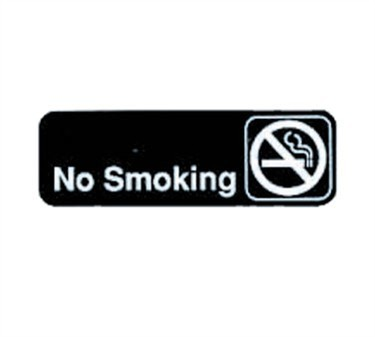 "TableCraft 394513 No Smoking Sign, White-On-Black 3"" x 9"""