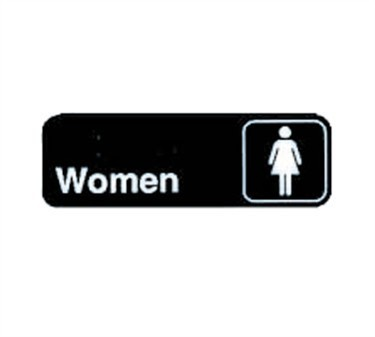 "TableCraft 394516 Women Sign, White-On-Black 3"" x 9"""