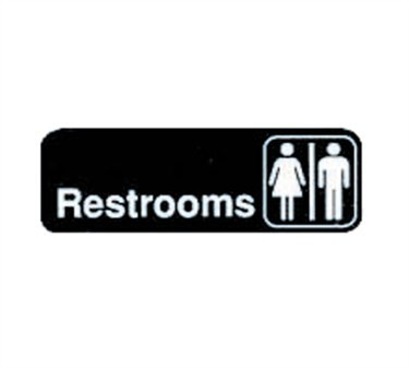 "TableCraft 394517 Restrooms Sign, White-On-Black 3"" x 9"""