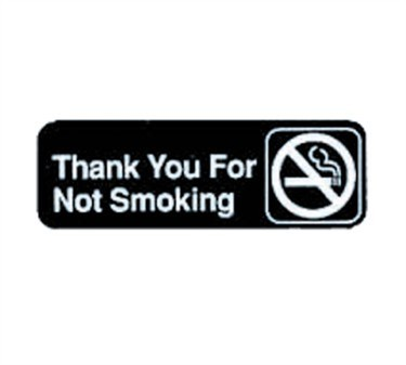 "TableCraft 394521 Thank You for Not Smoking Sign, White-On-Black 3"" x 9"""