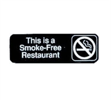 "TableCraft 394524 This Is A Smoke-Free Restaurant Sign, White-On-Black 3"" x 9"""