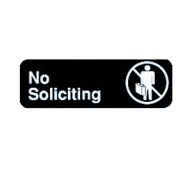 "TableCraft 394527 No Soliciting Sign, White-On-Black 3"" x 9"""