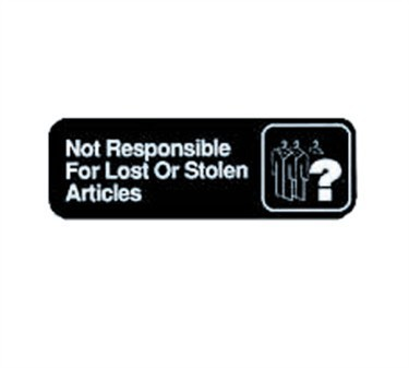 """TableCraft 394532 Not Responsible for Lost Or Stolen Articles Sign, White-On-Black 3"""" x 9"""""""