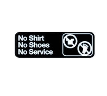 "TableCraft 394547 No Shirt No Shoes No Service Sign, White-On-Black 3"" x 9"""