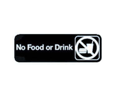 "TableCraft 394548 No Food Or Drink Sign, White-On-Black 3"" x 9"""