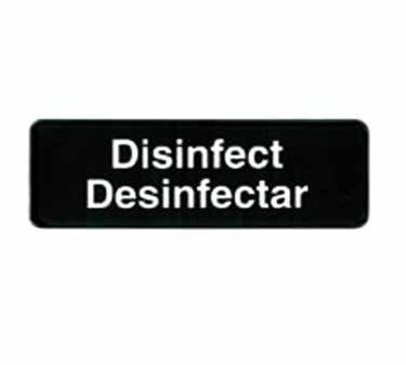 "TableCraft 394553 Disinfect/Disinfectar Sign, White-On-Black 3"" x 9"""