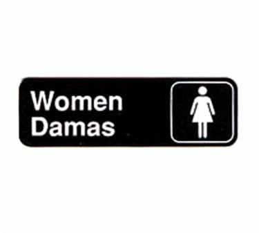 "TableCraft 394567 Women/Damas Sign, White-On-Black 3"" x 9"""