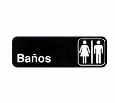 "TableCraft 394572 Ba�os/Restrooms Sign, White-On-Black 3"" x 9"""