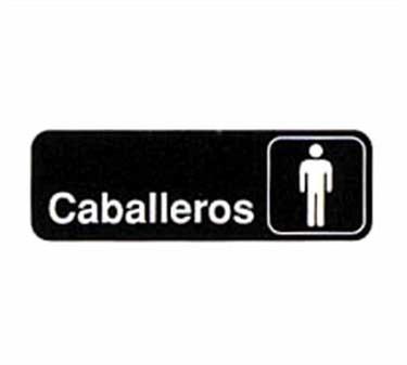 "TableCraft 394575 Caballeros Sign, White-On-Black 3"" x 9"""