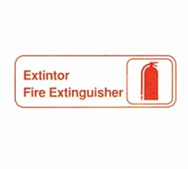 "TableCraft 394582 Extintor/Fire Extinguisher Sign, White-On-Black 3"" x 9"""