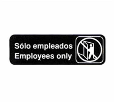 """TableCraft 394586 Solo Empleados/Employees Only Sign, White-On-Black 3"""" x 9"""""""